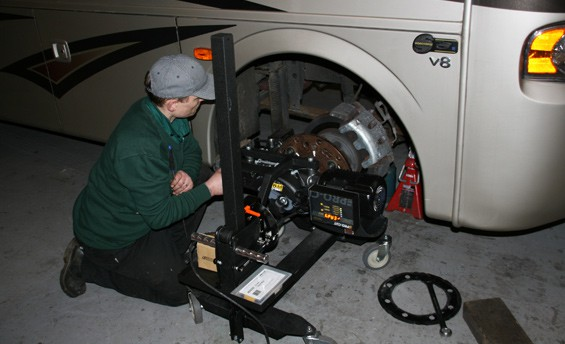 This picture shows a brake rotor being refaced.